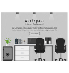 web banner of modern office workplace workspace vector image