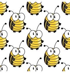 Yellow cartoon striped bugs seamless pattern vector