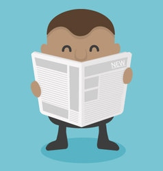 Young african businessman reading newspaper vector