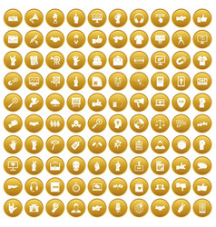100 different gestures icons set gold vector