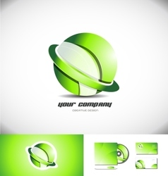 Green sphere ring 3d logo icon design vector