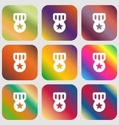 Award medal of honor icon nine buttons with bright vector