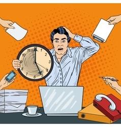 Stressed Pop Art Business Man Holding Big Clock vector image