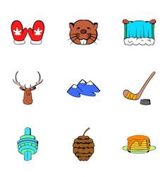Canadian maple icons set cartoon style vector