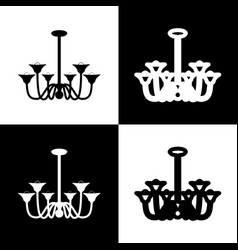 chandelier simple sign  black and white vector image
