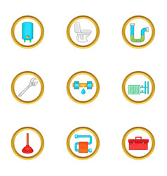 Plumbing problem icons set cartoon style vector