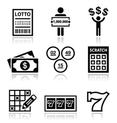 Winning money on lottery slot machine icons set vector