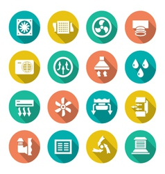 Set flat icons of ventilation and conditioning vector