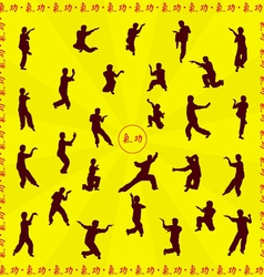 Set of images of people of engaged kung fu vector