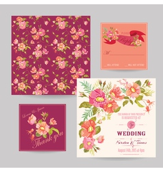 Set of wedding floral invitation cards vector