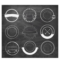 Editable vintage badges and labels on chalkboard vector