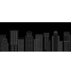 Seamless border of line skyscrapers black and vector
