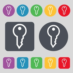 Key icon sign a set of 12 colored buttons flat vector