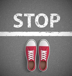 Vintage sneakers stand before stop inscription vector