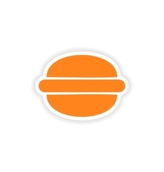 Icon sticker realistic design on paper hamburger vector