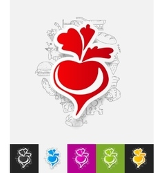 Beet paper sticker with hand drawn elements vector