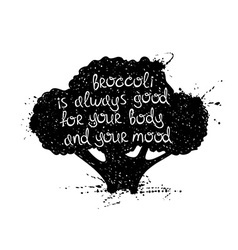 Of isolated black broccoli silhouette vector