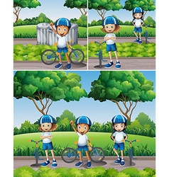 Boys and girls riding bike in garden vector