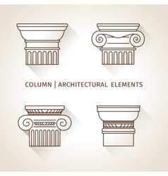 Brown linear icons columns flat with long shadows vector