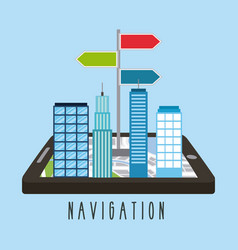 buildings on smartphone screen city mobile vector image