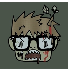 Cartoon funny hipster zombie head mascot icon vector image vector image