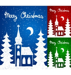 Christmas church and trees hand - drawn style vector image vector image