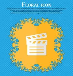Cinema Clapper Floral flat design on a blue vector image