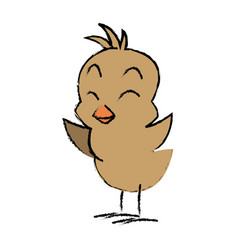 Cute little chick baby animal bird cartoon vector