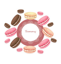 delicious macaroons round card for menu vector image