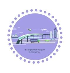 Development of transport infrastructure icon flat vector