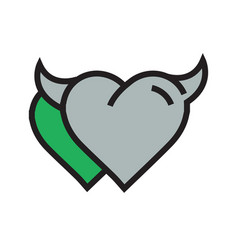 Devil heart icon twins green vector