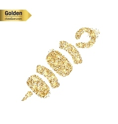 Gold glitter icon of shish isolated on vector