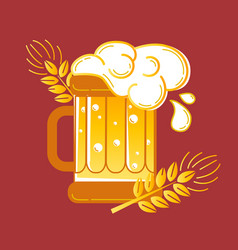 icon glass of beer and barley vector image