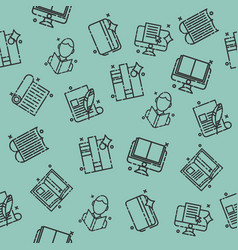 Library flat icons pattern vector