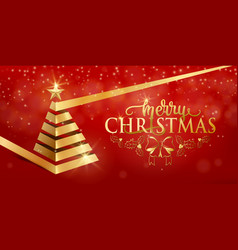 merry christmas fancy luxury gold ribbon xmas tree vector image vector image