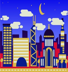 Night view of a modern city vector image