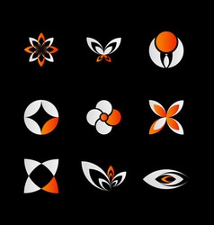 orange logo elements vector image vector image