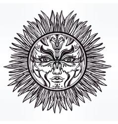 Ornate romantic pagan sun symbol vector
