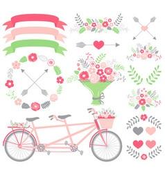 Pink wedding set vector