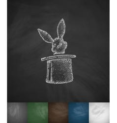 Rabbit in the hat icon hand drawn vector