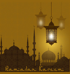 Ramadan kareem stylized drawing of the silhouette vector