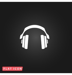 Retro headphone flat icon vector
