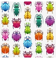 Seamless pattern with funny cartoon colorful bugs vector image vector image