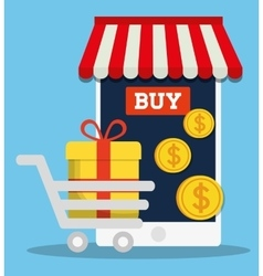 Smartphone shopping online store market icon vector