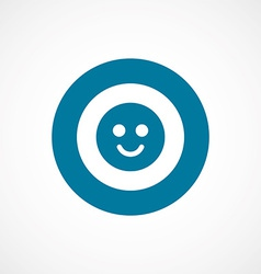 Smile bold blue border circle icon vector