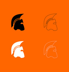 spartan helmet black and white set icon vector image vector image