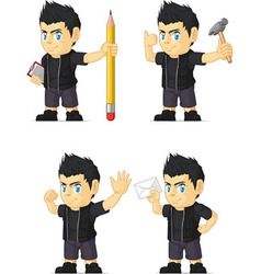 Spiky rocker boy customizable mascot 10 vector