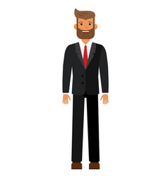 standing bearded businesman in black suti cartoon vector image vector image