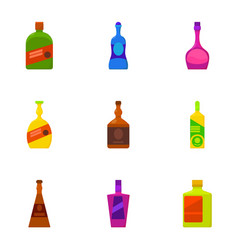 Types of alcohol bottle icons set cartoon style vector