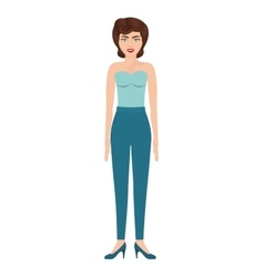 woman with strapless blouse and eighties hairstyle vector image vector image